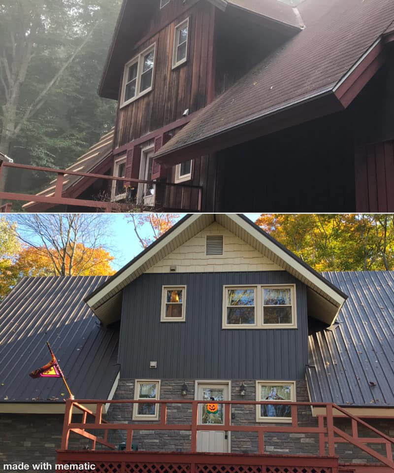 Before shingle roof and after metal roof