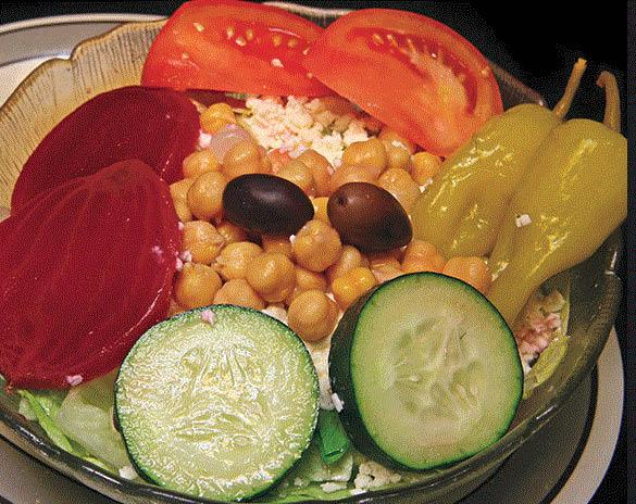 Famous Greek salad at Leo's Coney Island in Roseville, MI