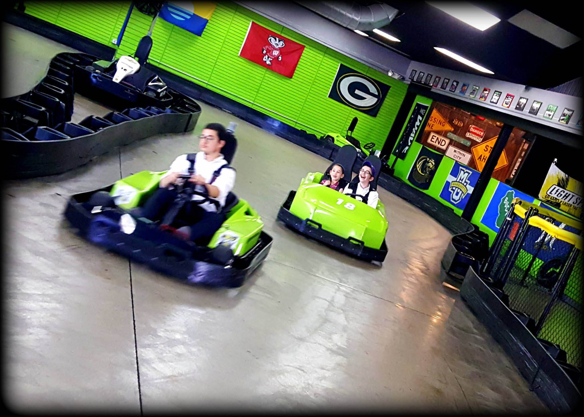 Light Speed Entertainment go carting fun located near Oak Creek, affordable active fun for children, young children specials and families or business team building events in Brookfield, WI