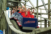 Enjoy the 1950's wooden roller coaster - The Meteor!