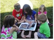 Children reading time at preschool in Grayslake IL
