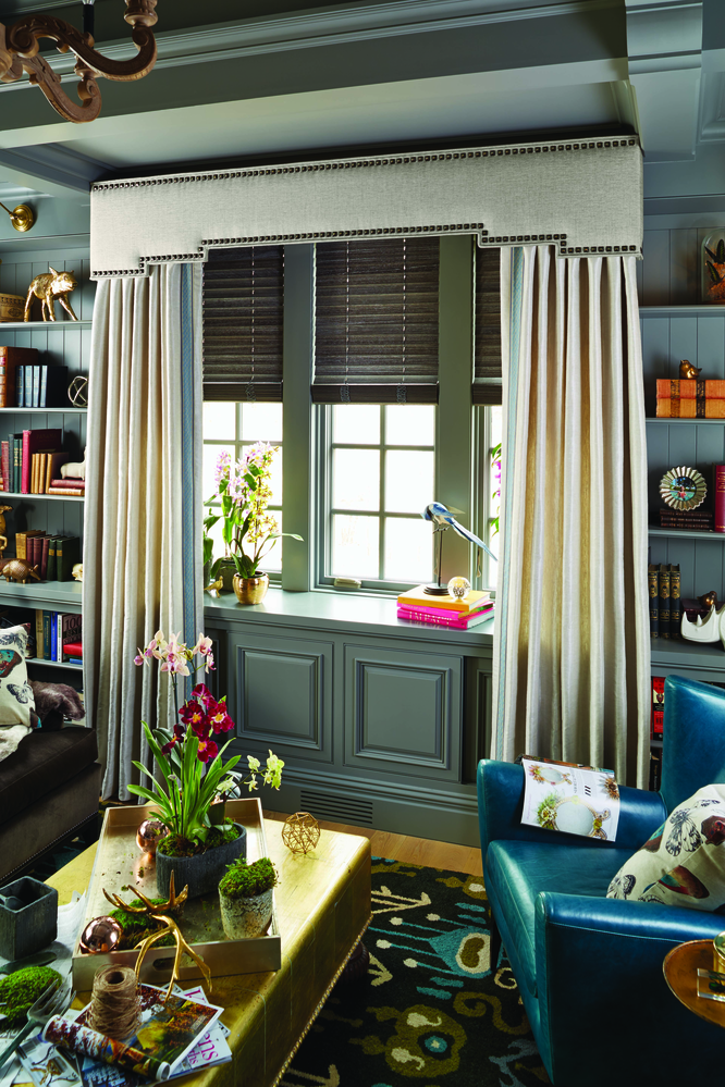 wood blinds with custom drapery; window coverings