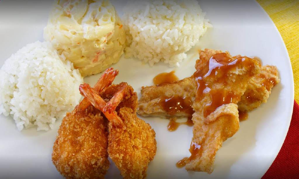 shrimp lunch plate in Kapolei