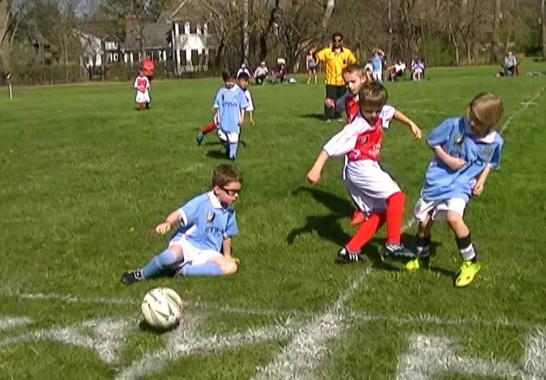 Kids engage in soccer games near Northbrook