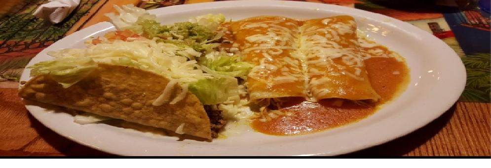 photo of taco & enchilada combo at Los Amigos Mexican Grill in Westland, MI