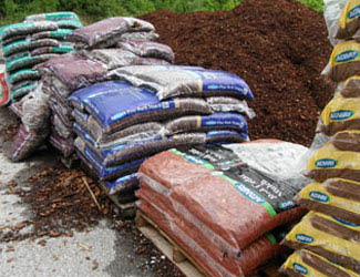 Picture of Louisville Mulch & Tree Care Inc rows of bagged mulch