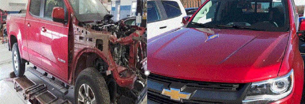 Before and After collision work by Lou LaRiche Chevrolet in Plymouth, MI
