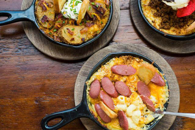 Macs Macaroni & Cheese recipe with sausage served up in a skillet