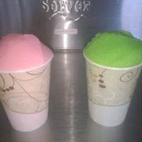 Italian ice in pink and green colors at Maggie's Italian Ice near Williams Grove