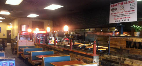 Interior of Mamas Pizza & Grill in Wyomissing PA