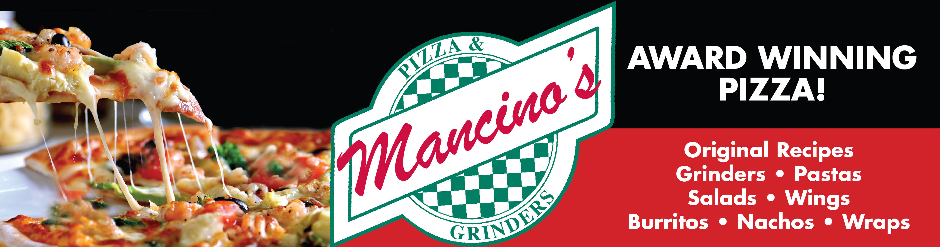 Banner logo for Mancino's Pizza and Grinders of Lansing, Il.
