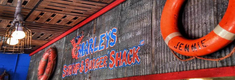 Exterior of Marley's Shrimp & Burger Shack banner