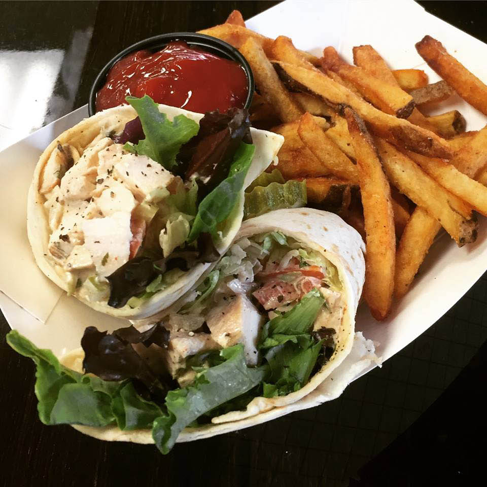 Chicken wraps with fries