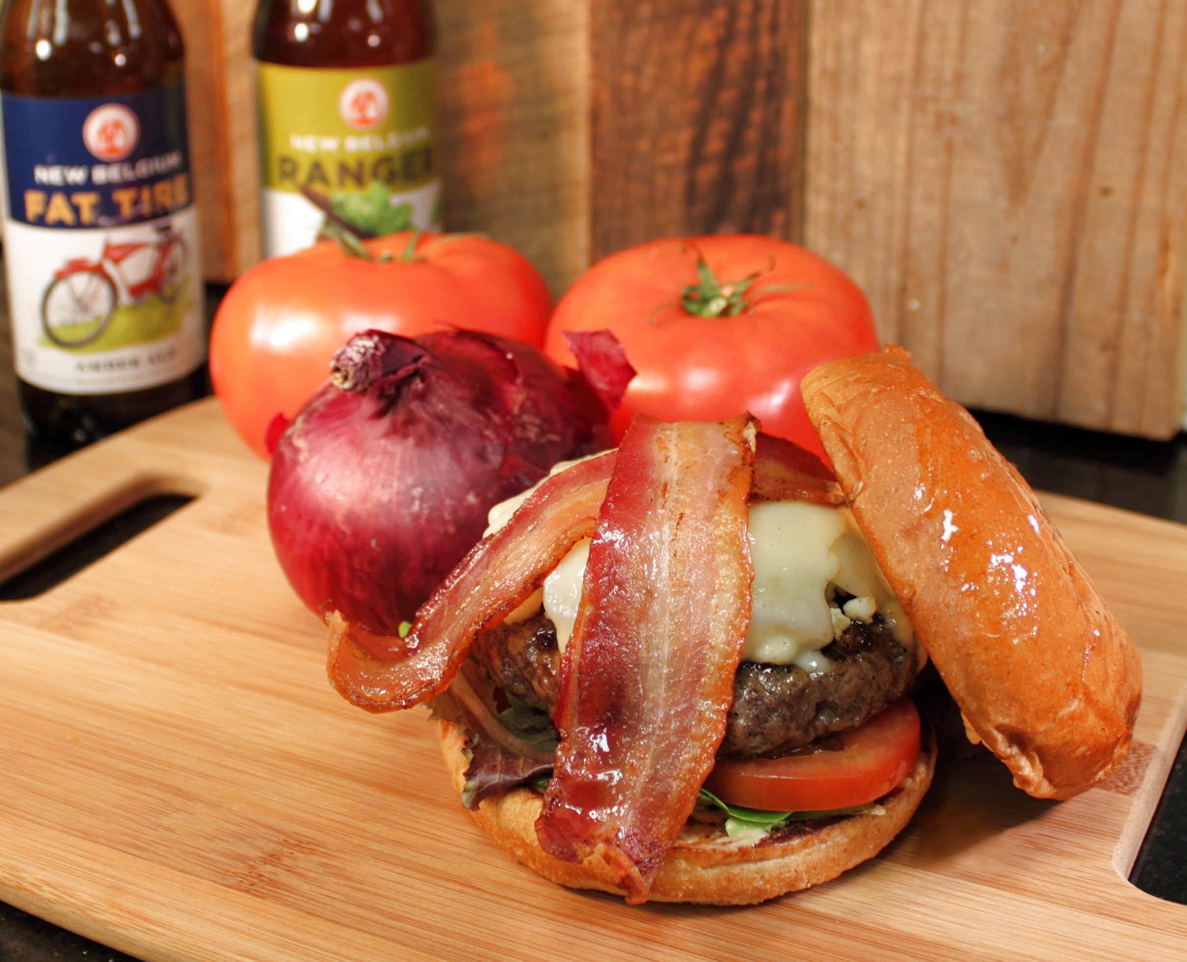 Mason Jar Brews & Burgers hand made bacon cheeseburger is made with the freshest of ingredients.