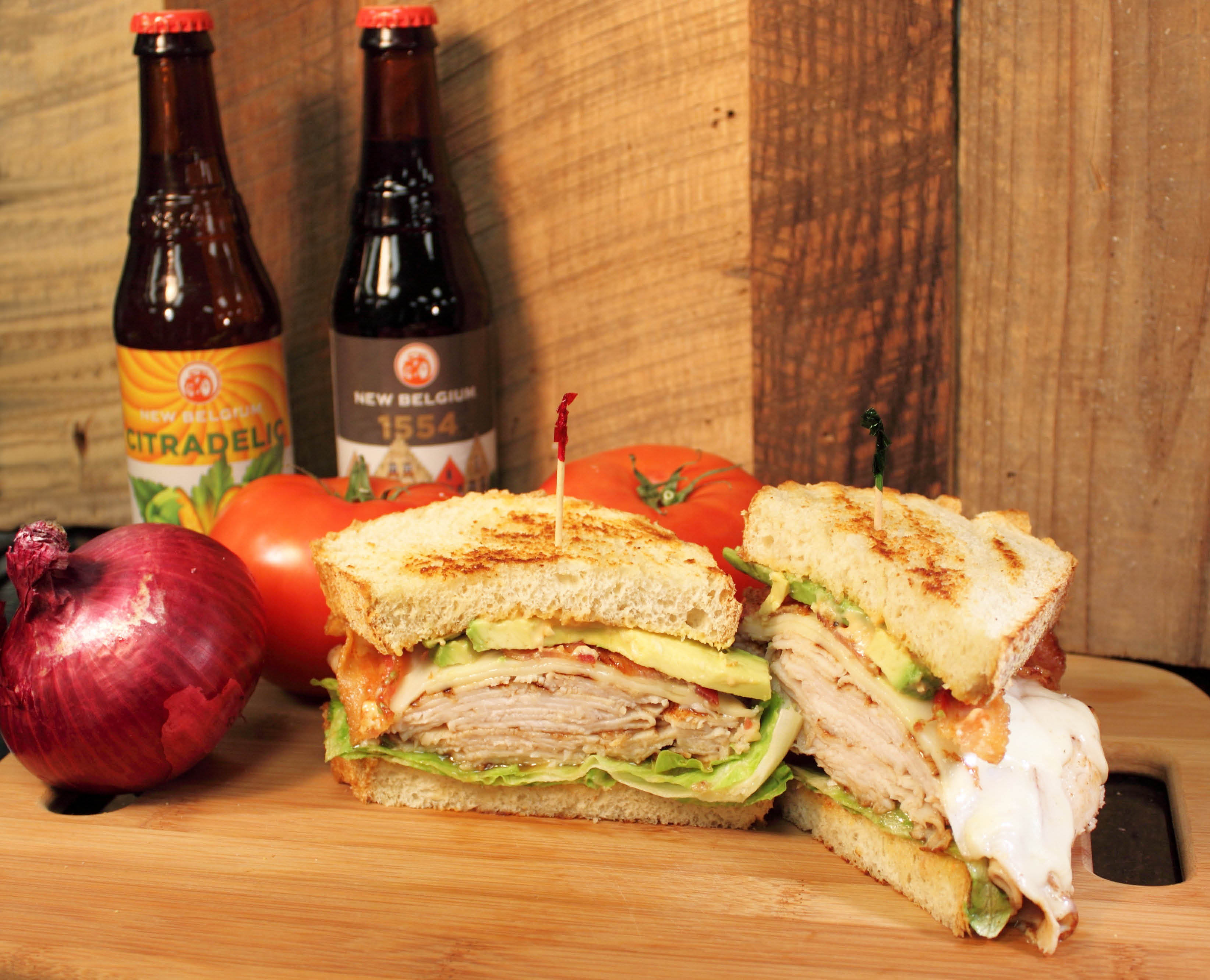 Mason Jar Brews & Burgers Turkey Melt With Bottled Craft Beers