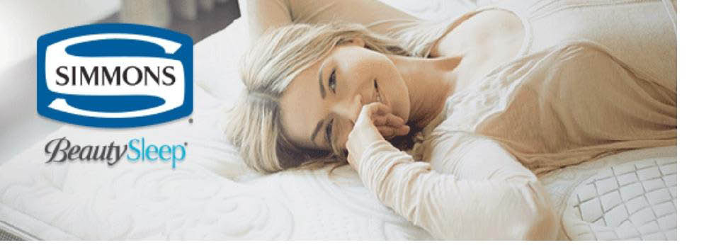 Simmons Beauty Sleep logo and photo of woman laying on mattress at Mattress King Sleep Centers