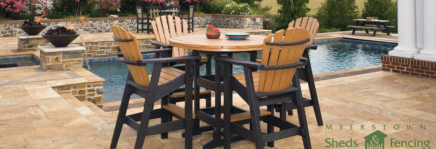 Enjoy outdoor living with outdoor furniture in enclosed privacy banner
