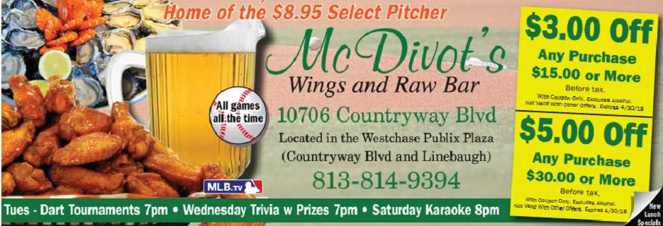 McDivot's Wings and Raw Bar banner Tampa, FL