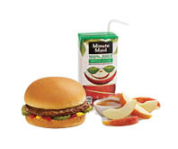 Sliced apples, juice and a hamburger kids meal.
