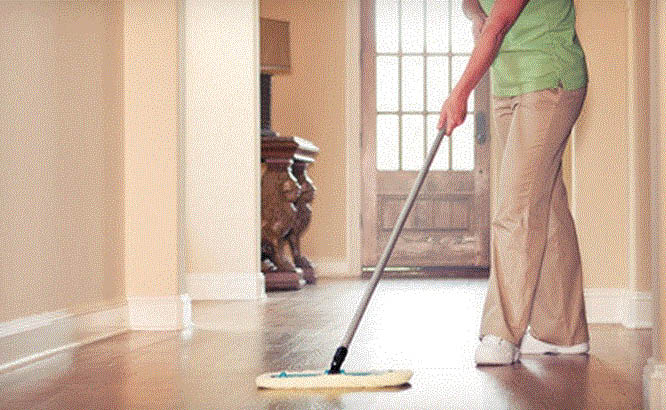 Picture of hardwood floors being cleaned by Merry Maids