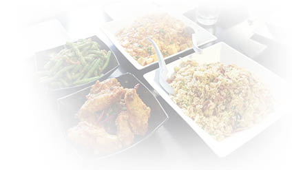 Chinese food display - lightly seasoned & low sodium foods available