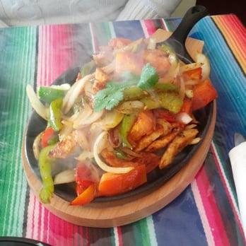 Chicken fajitas at Mexican restaurant