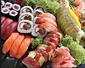 Sushi and sashimi at our seafood buffet in Torrance, CA.