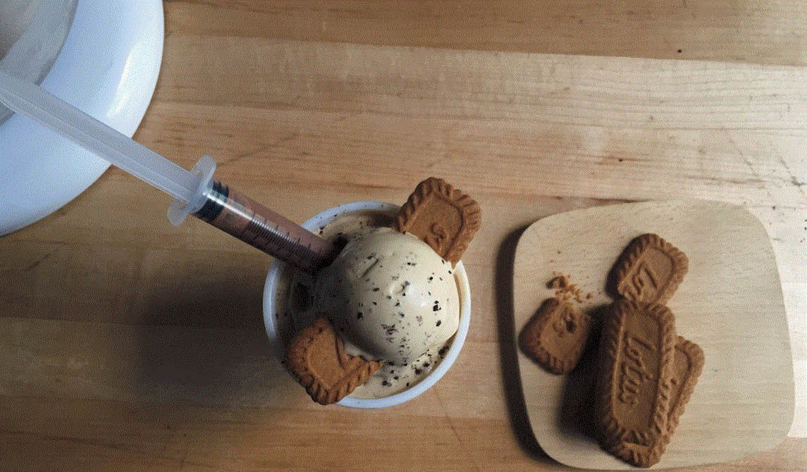 Biscoff Voyage ice cream at Milkster Nitrogen Creamery located in Biggby Coffee in Macomb, MI