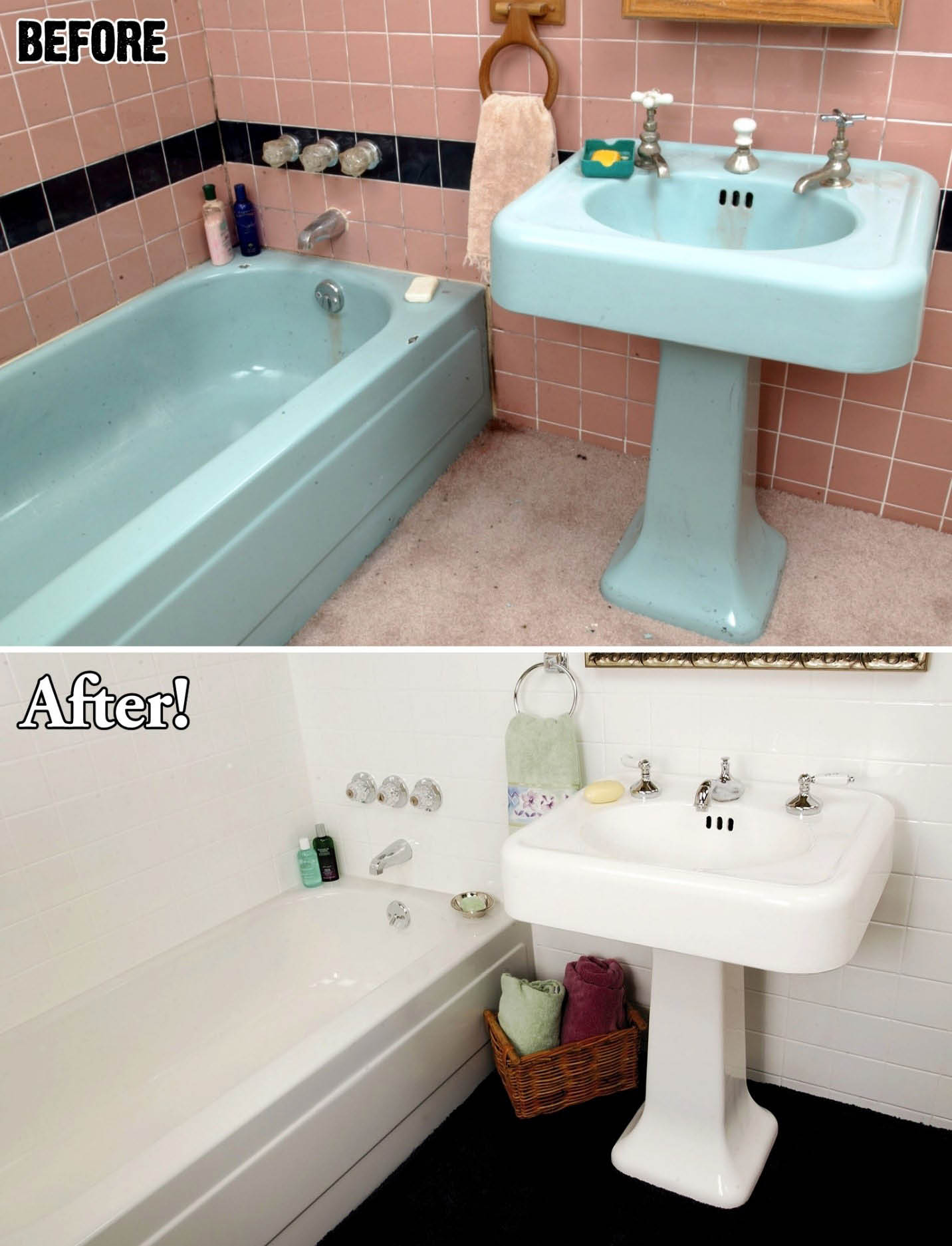 before and after bathroom; blue and pink bathroom refinished to white.