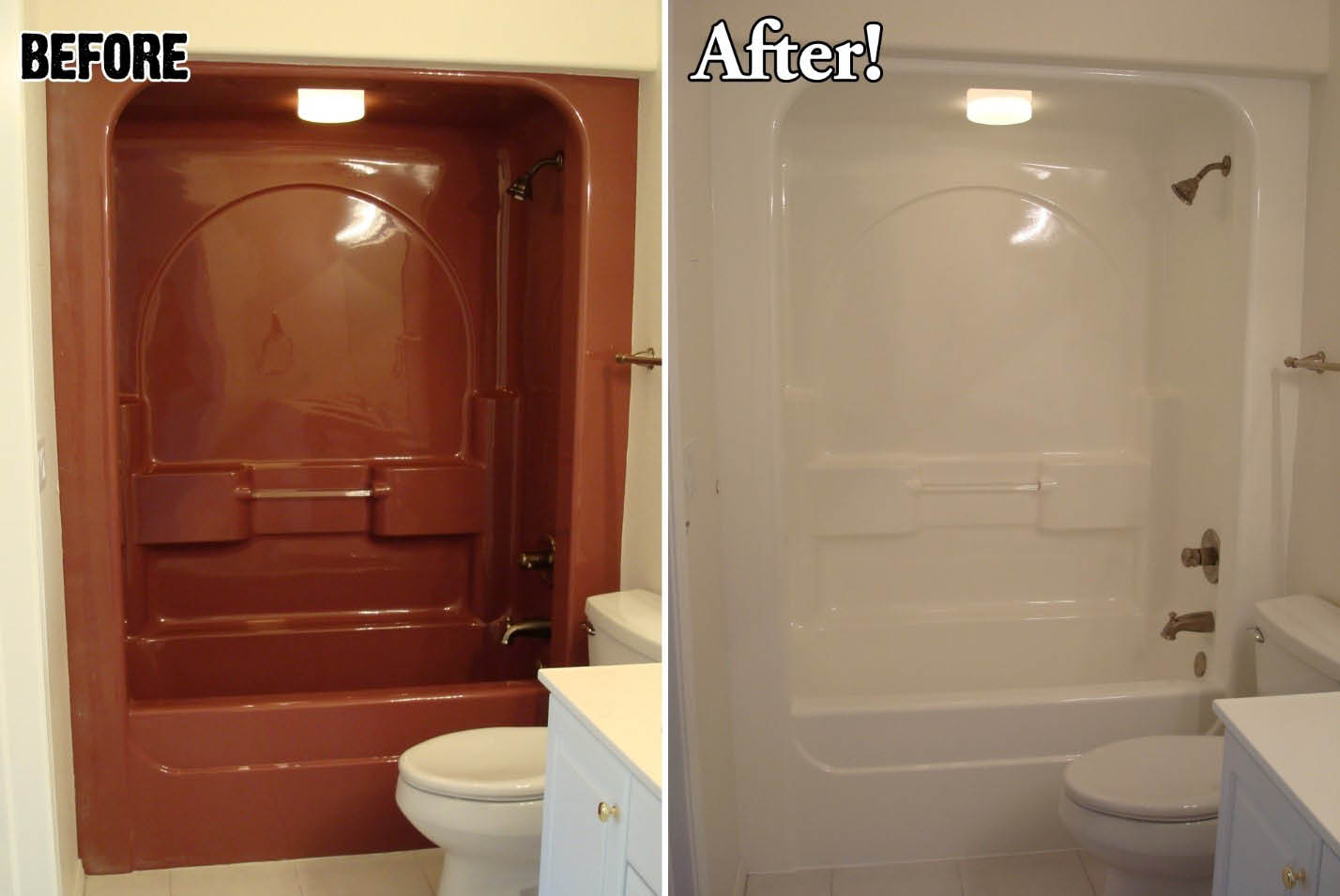 before and after shower tile from dark brown to white by Miracle Method in Savannah