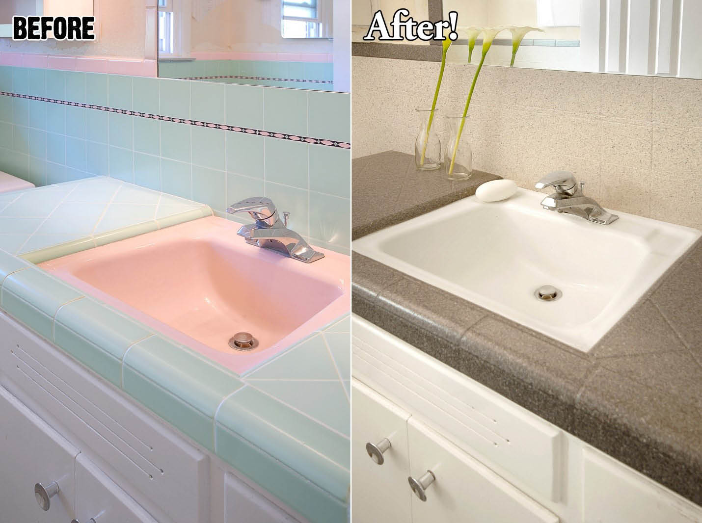blue counters and pink sink refinished to cream by Miracle Method refinishing company in Savannah, GA