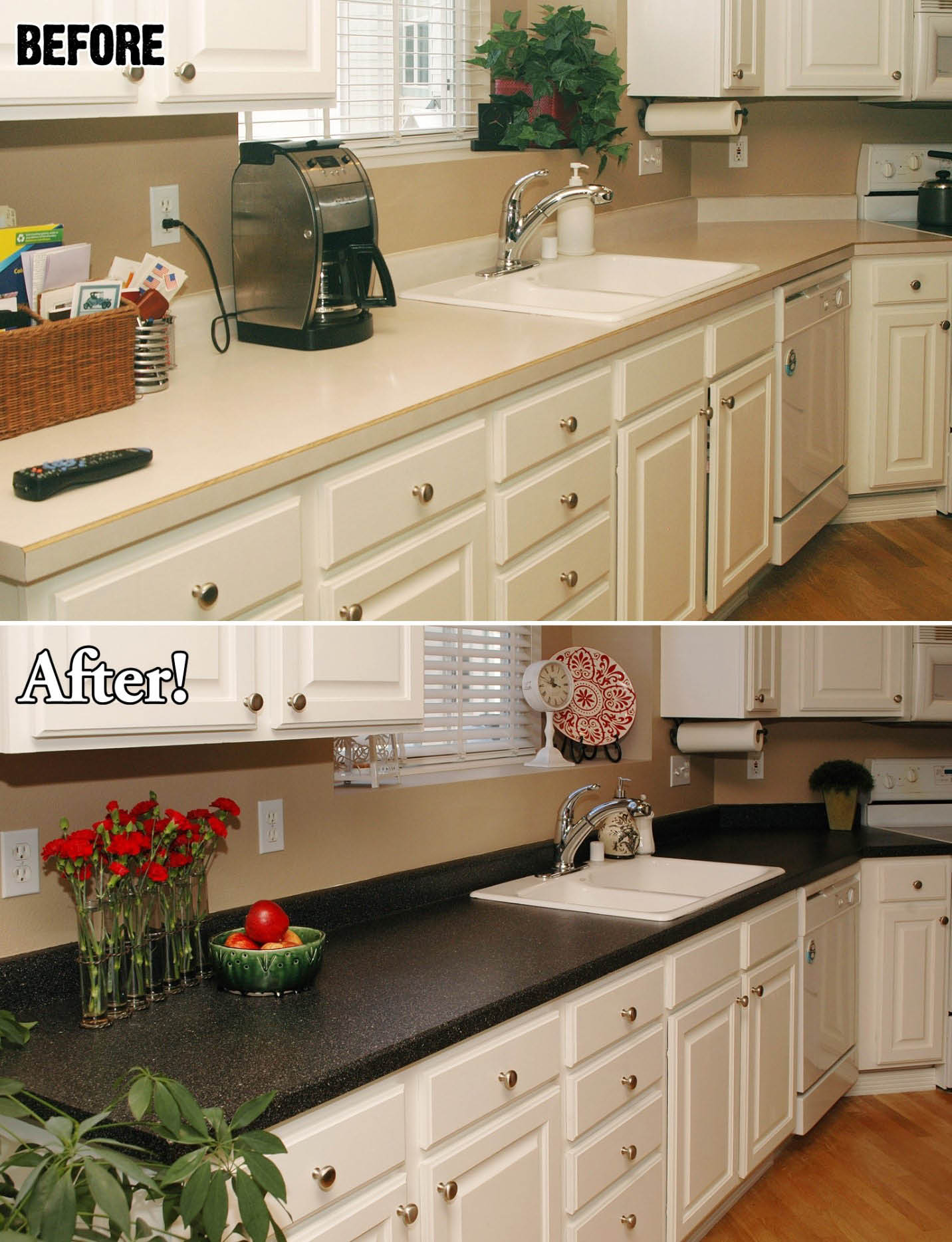 refinished kitchen countertop from cream to dark gray. home improvement in Georgia