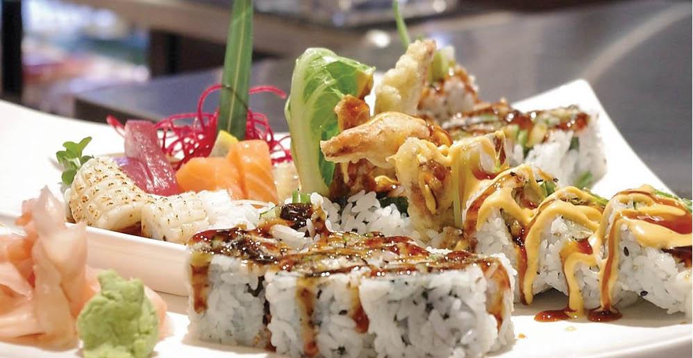Sushi roll and sashimi