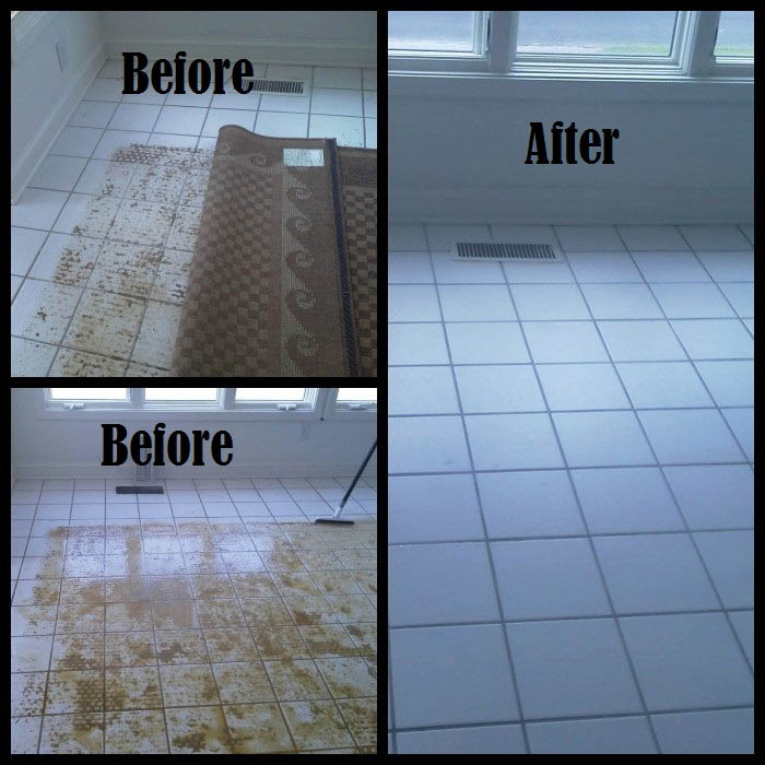 Before and after tile cleaning service near Dorchester county