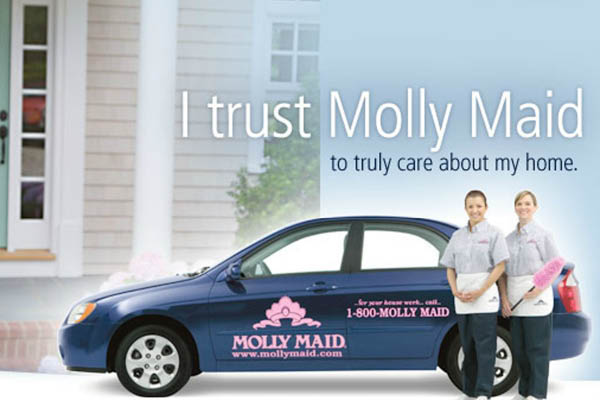 Molly Maid blue and pink maid service.