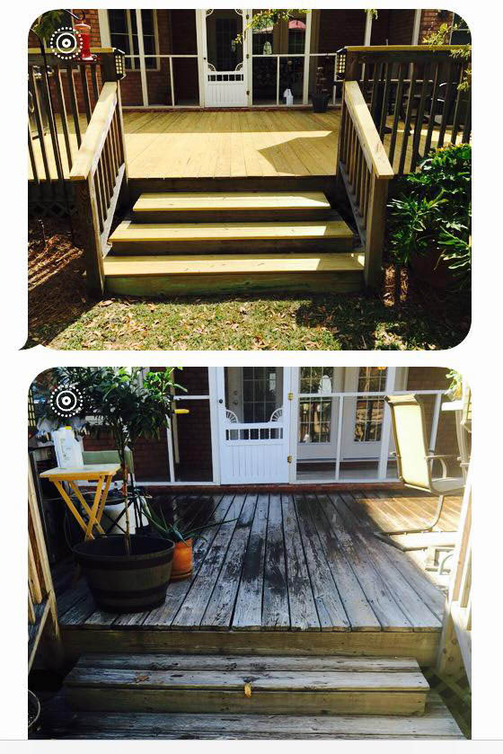 Wood deck, pressure washing