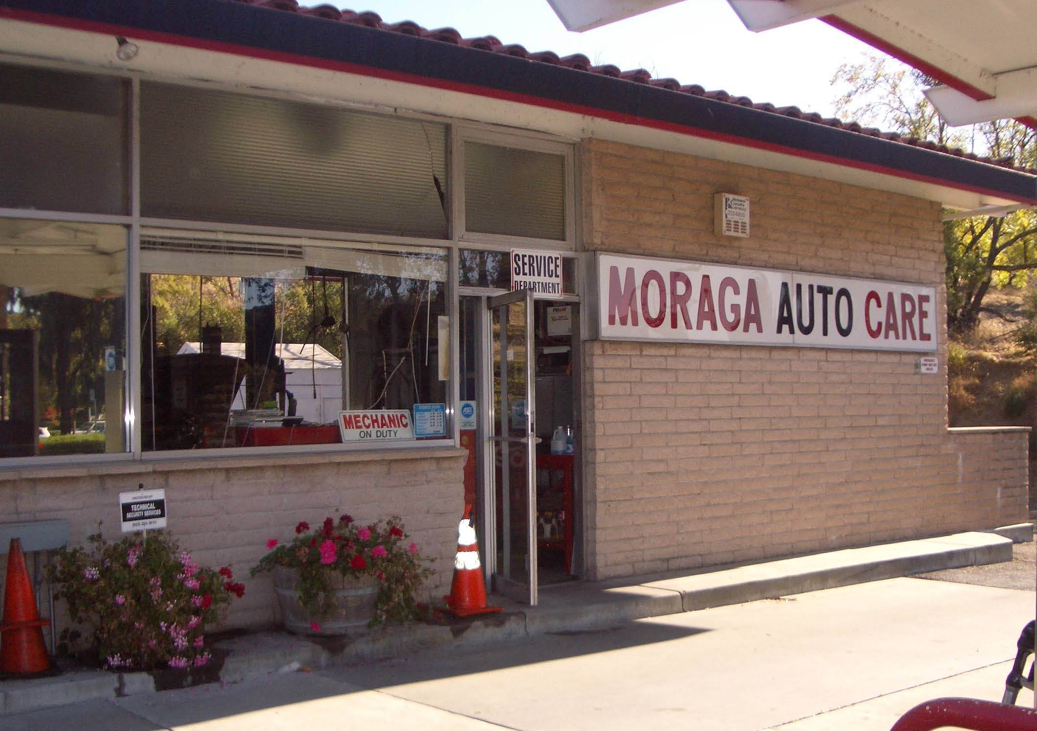 Front of Moraga Auto Care and Services shop at 1135 Moraga Way