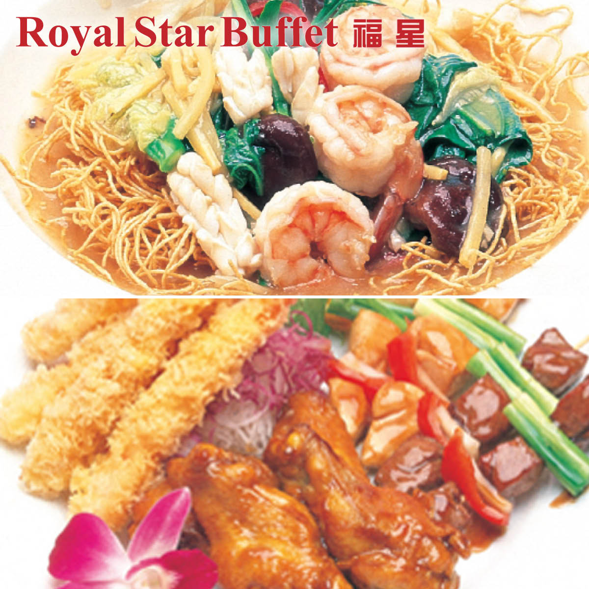 Royal Star Buffet logo over-layered on pictures of authentic Chinese noodle dishes, stir fry, kabobs and tempera located in Mount Vernon.