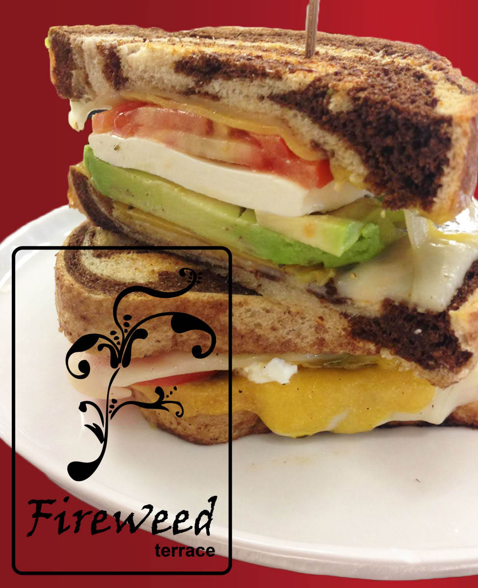 Rye sandwich with tomato, avocado, Swiss cheese, mozzarella and cheddar cheese at the Fireside Terrace Restaurant & Lounge.
