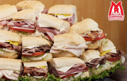 Tray of sub sandwiches for your next party.