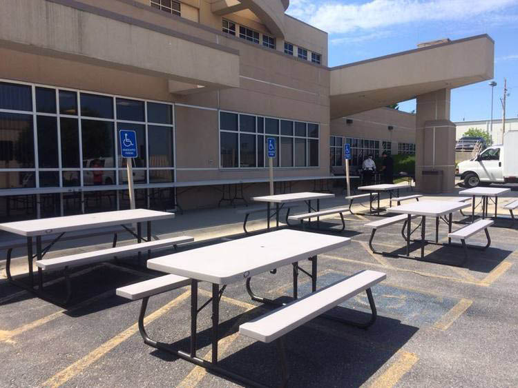 picnic tables for company lunch areas