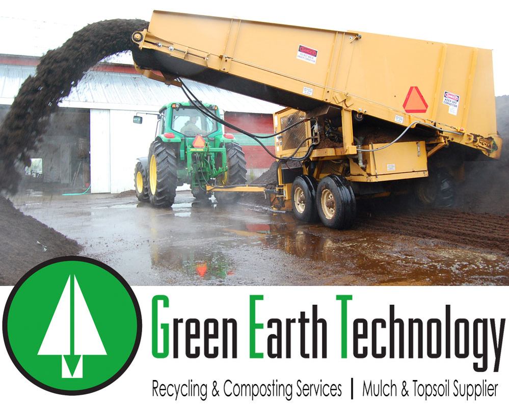 Green Earth Technology Recycling and Composting Services and Mulch & Topsoil Supplier with big tractor mixing organic topsoil.