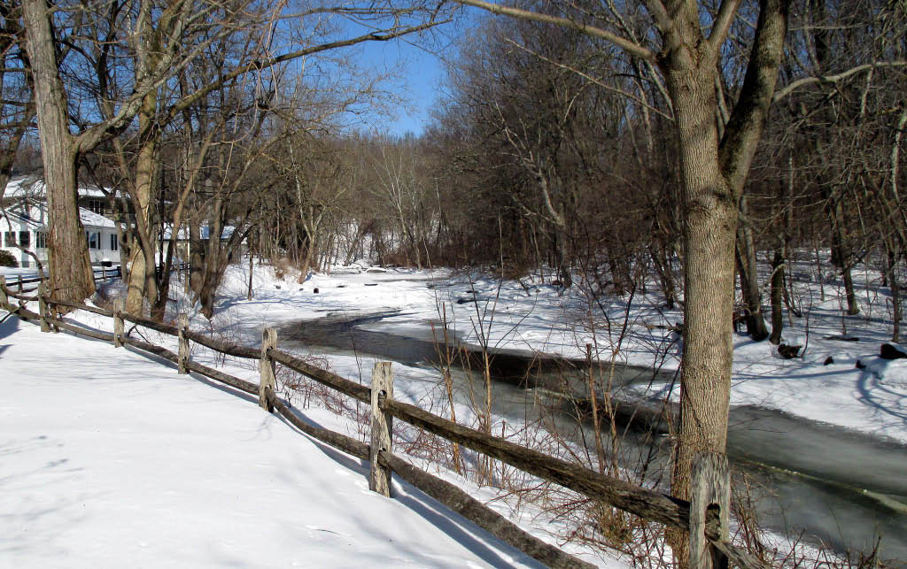 Frozen Musconetcong River at the House of the Good Shepherd in Hackettstown, NJ
