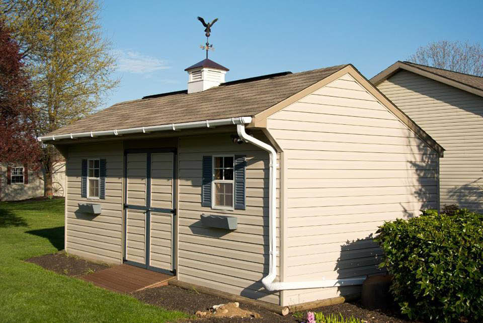Vinyl shed with double door opening