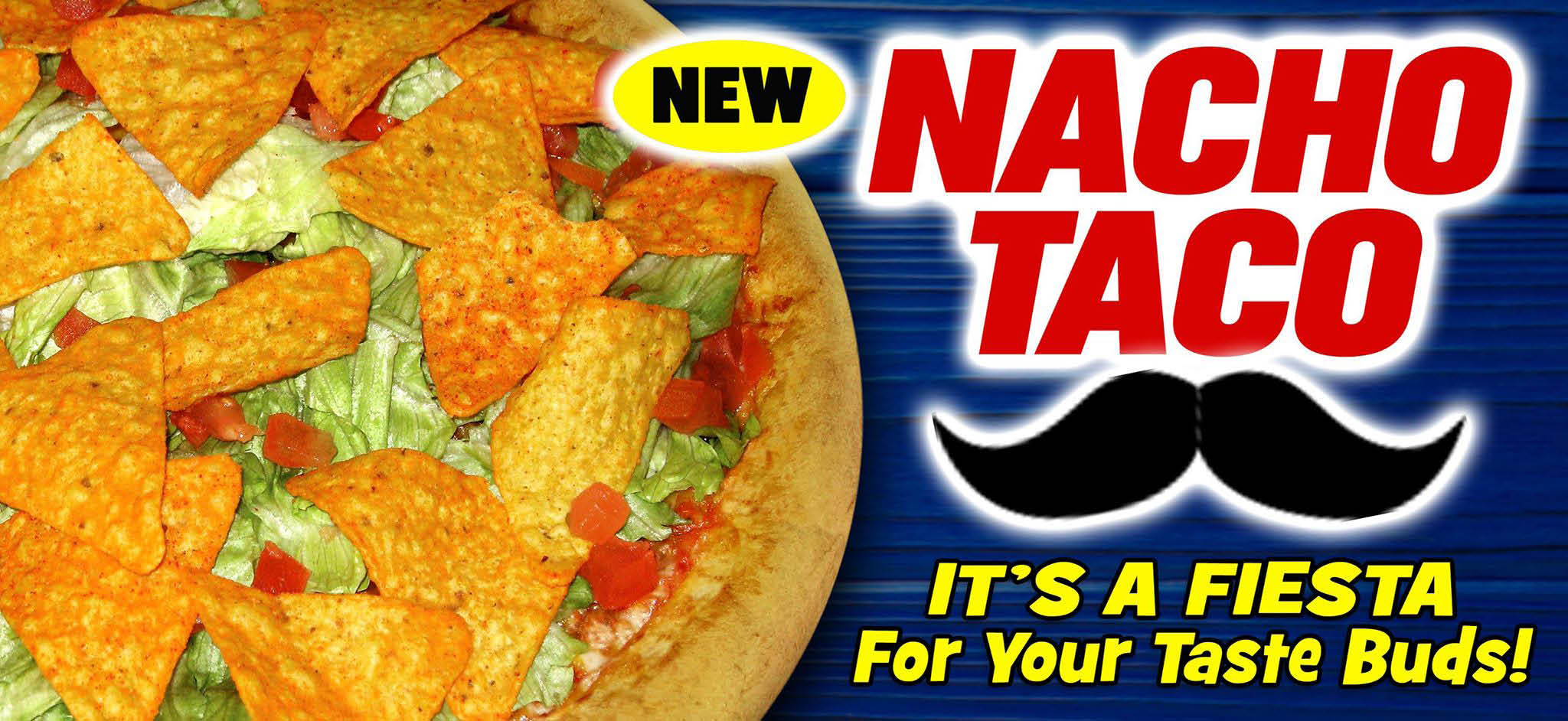 Nacho Taco pizza with Nacho cheese sauce