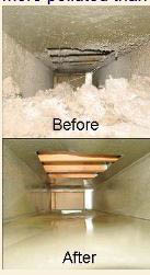 Before and after a comprehensive air duct cleaning