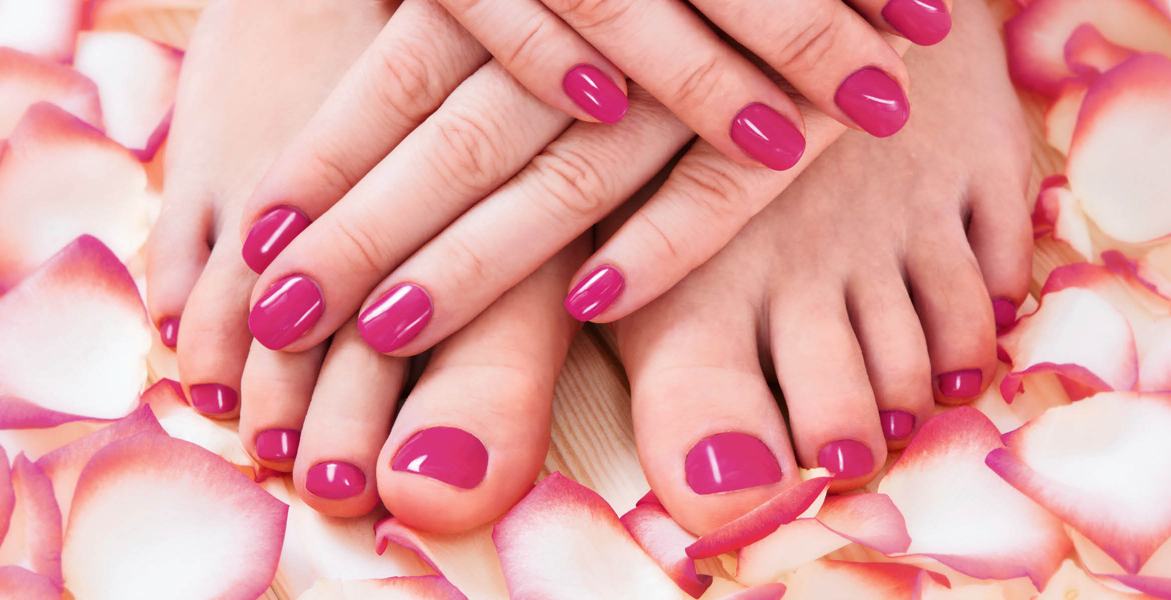 Picture of hands and feet from a manicure and a pedicure at Nailology Spa in Kansas City, MO.