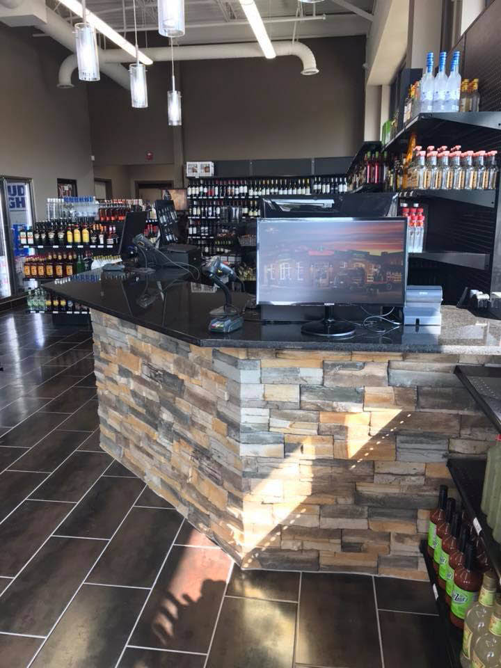 Nall Valley Wine & Spirits Counter & inside of store.