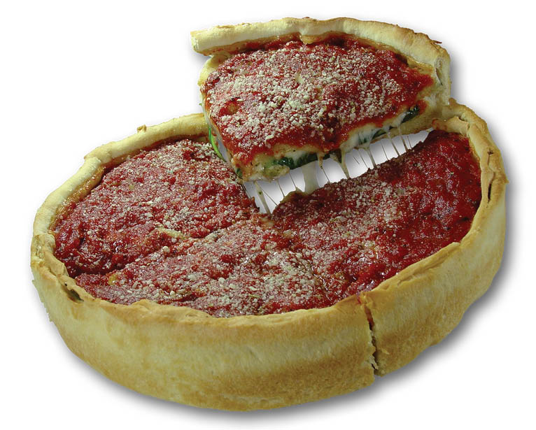 Deep dish pizza Chicago from Nancy's Pizza.