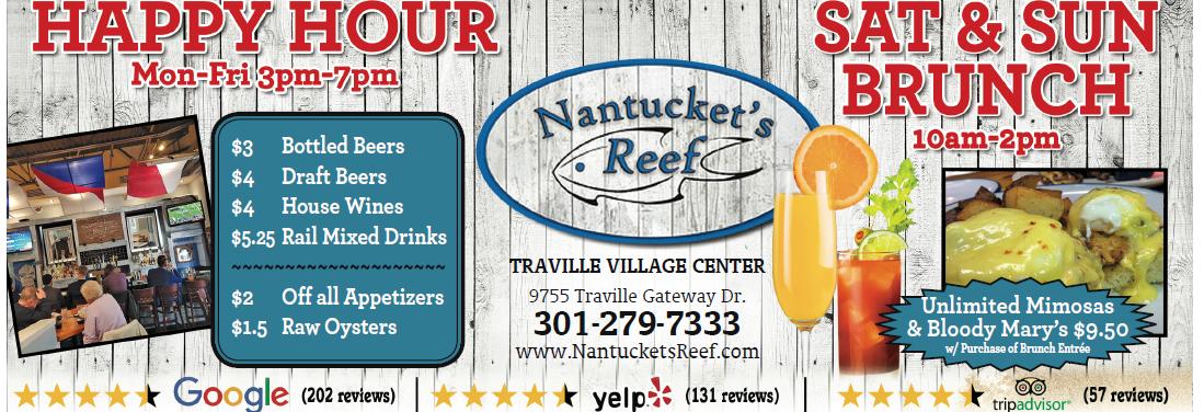 nantuckets reef, seafood restaurant, rockville md